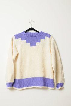 Vintage 80s 90s Super Cute Cream and Purple by LipstickDinosaur, $26.00