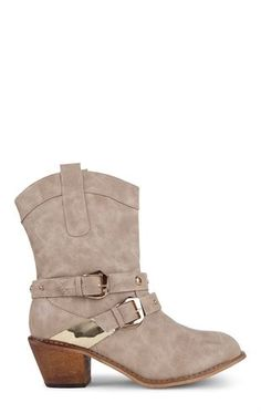 Deb Shops Short Western Boot with Stacked Heel and Gold Studded Straps $34.50