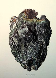 1967 Vintage Minerals color lithograph antique Rockbridgeite