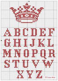 Αποτέλεσμα εικόνας για alfabeto com coroa em ponto cruz para toalha de boca