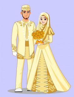 Portfolio d'images et de photos de stock de Ide Segar Lace Mermaid Wedding Dress, Luxury Wedding Dress, Wedding Dresses, Cute Muslim Couples, Cute Couples, Bride Cartoon, Muslimah Wedding Dress, Islamic Cartoon, Anime Muslim