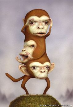 Naoto Hattori - 'See-Speak-Hear no evil' surreal style illustration ★★★