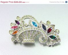 20% OFF - HUGE SALE Vintage Deco Sparkly Colorful Basket Rhinestone Brooch with Paste Type Stone Setting. Vintage Brooches.Bride.(Sale) on Etsy, $28.00