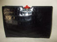 Rare Lesco vintage black crocodile clutch with red rose clasp by VintageHandbagDreams on Etsy