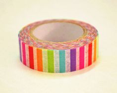 Rainbow Stripe Japanese Washi Tape Rice Paper Tape Masking Tape - 10m