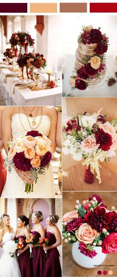 vintage burgundy, peach and brown wedding color inspiration.jpg