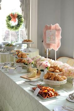 Brunch buffet table --best of both world--breakfast/lunch foods at the time of day when I love to eat...