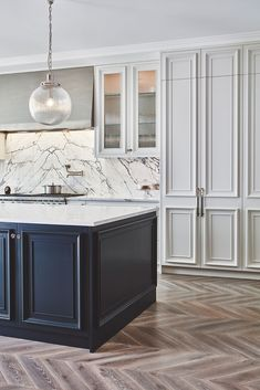 Painting tall kitchen larder units in strong white and island cabinetry in black blue from Farrow and Ball offers balance in this large Blakes London kitchen. Modern Farmhouse Kitchens, Home Kitchens, Kitchen Modern, Small Kitchens, Dream Kitchens, Kitchen Interior, Kitchen Decor, Diy Kitchen, Awesome Kitchen