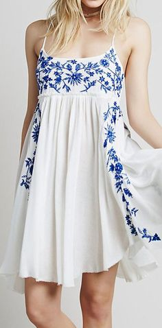Blue Floral Leaves Embroidery Spaghetti Strap Dress