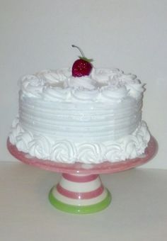 CLASSIC WHITE FAKE CAKE WITH ROSETTE TRIM, HOUSE STAGING / DECOR / PHOTO PROPS #FakeCupcakeCreations