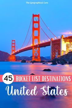 Need some destination inspiration for a trip or vacation in the United States? This is an epic list of the best places to visit in the US -- 45 amazing cities, national parks, historic landmarks, and epic destinations. You can use this guide to create your own US bucket list or road trip itinerary. This US itinerary takes you to all the best must see sites and places in the US. US Itineraries | US Road Trips | US Bucket List | Best US Destinations | Best Cities and Towns in the US Bucket List Destinations, The Cure, United States, The Unit