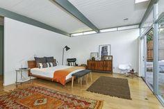 bedrooms, orange, white, gray, grey, mid-century, home, decor, interiors, inspiration