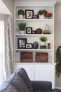 Styled Family Room Bookshelves - Shelf Bookcase - Ideas of Shelf Bookcase - decorating shelves - Styling Bookshelves, Bookshelves In Living Room, Decorating Bookshelves, Built In Bookcase, Bookshelf Ideas, Bookcases, Book Shelves, How To Decorate Bookshelves, Apartment Bookshelves