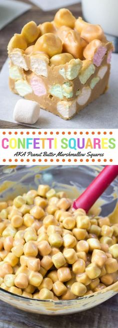 Confetti Squares AKA Peanut Butter Marshmallow Squares - Chewy Candy - Ideas of Chewy Candy - Confetti squares just like grandma made! Also known as peanut butter marshmallow squares these are no bake only 4 ingredients soft chewy peanut buttery Candy Recipes, Sweet Recipes, Cookie Recipes, Dessert Recipes, No Bake Recipes, Cheap Recipes, Dinner Recipes, No Bake Desserts, Easy Desserts