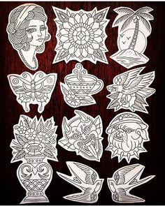 Traditional Tattoo Stencils, Traditional Black Tattoo, Traditional Tattoo Old School, Traditional Tattoo Design, Traditional Flash, Old Tattoos, Black Ink Tattoos, Small Tattoos, Sleeve Tattoos