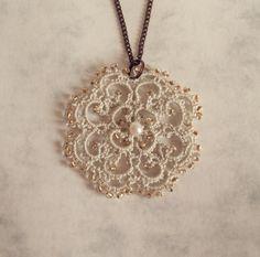Victorian Inspired Lace Pendant in Tatting  Rosetta by TataniaRosa, $25.00