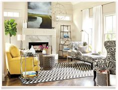 Love this room! Black and yellow are classic and timeless. Simple Living Room | Ballard Designs