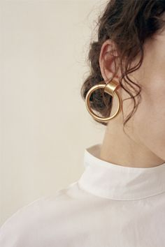 Laura Lombardi / Ruota Hoop Earrings at Found Piercings, Statement Jewelry, Gold Jewelry, Jewellery, Jewelry Necklaces, Bling, Jewelry Photography, Gold Hoop Earrings, Gold Hoops
