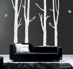 Birch Trees Birds in Winter 100inch Tall GIFT BIRDS Vinyl Wall Decal | Styleywalls - Housewares on ArtFire