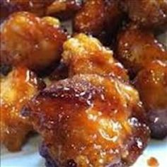 Sweet Hawaiian+Crockpot Chicken  2lb. Chicken tenderloin chunks 1 cup pineapple juice 1/2 cup brown sugar 1/3 cup soy sauce Crockpot 6-8 hours. (It was ok. ~MB)