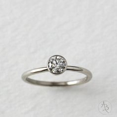 14k gold tapered setting diamond by AndreaBonelliJewelry on Etsy, $1988.00