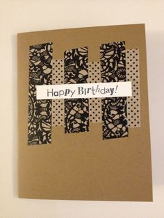 Washi Tape Black and White Birthday Card by MegansPaperCreations, $3.75