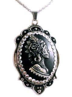 """Women's """"Gypsy Feather Sugar Skull"""" Cameo Necklace by Diamonds And Coal (Black)"""