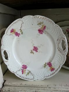 Beautiful Rose Limoge Plate Gold trim by shabbychatue on Etsy, $16.00