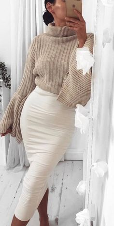 nude sweater and white pencil skirt