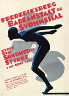 Modern graphic poster from 1934, a style very few top graphic designers used in Canada in the 70ties and 80ties! Frederiksberg Svømmehal.