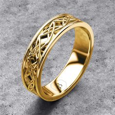 gold celtic band mens celtic ring celtic wedding band womans ornate celtic norse - Viking Wedding Rings