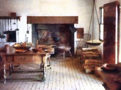 Primitive Kitchen, Rustic Kitchen, Country Kitchen, Early American Homes, Kitchen Posters, American Kitchen, Cottage Interiors, Summer Kitchen, Farmhouse Interior