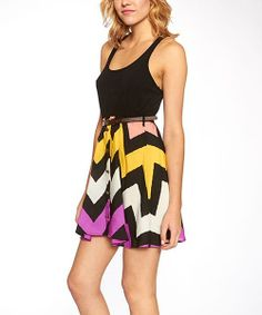 Take a look at the Black & Purple Knit Belted Sleeveless Dress on #zulily today!