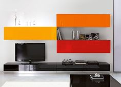 High gloss modern living room tv unit and storage system in black, orange, red and yellow