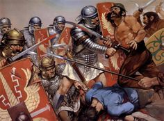 Legionaries and Dacians in battle. By Angus McBride