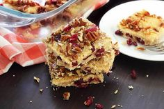 Easy Paleo Lemon-Cranberry Bars #justeatrealfood #paleonewbie