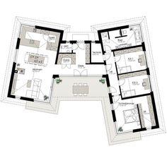 Kötz Haus - solid brick and turnkey - # Kötz # Schlü . Home Design Floor Plans, Plan Design, House Floor Plans, Design Ideas, Best House Plans, Modern House Plans, Modern House Design, The Plan, How To Plan