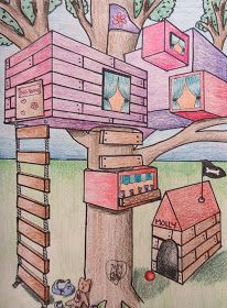 Mini Matisse: Student Samples of the Two Point Perspective Tree House Middle School Art Projects, Art School, 7th Grade Art, Grade 2, Perspective Art, Ecole Art, Drawing Projects, Wow Art, Elements Of Art