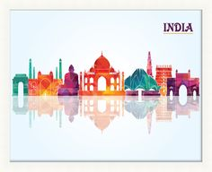 India Pop Skyline Framed Graphic Art
