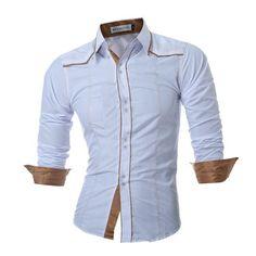 Men Shirt Fashion Brand Men'S Double Button Male Long-Sleeved Shirt Casual Slim Male Shirts XXL