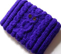 "Nook Kindle case Galaxy Tab cover Kindle Fire Lenovo Acer Icona Toshiba Thrive PlayBook cozy / 7"" tablets Owl bag hand knit in purple"