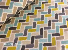 """Stoff grafische Muster - Clarke & Clarke Dekostoff """"Maya"""" chartreuse - ein Designerstück von Die-Stofftante bei DaWanda"""