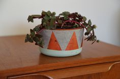 DIY cement pots - uses a 4:1 cement:sand mix, acrylic craft paints and varnish spray to finish