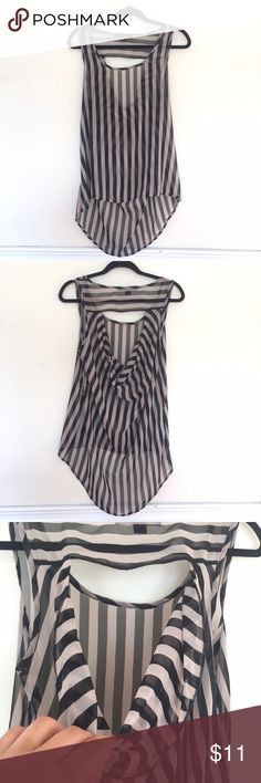 Forever 21 Black and Off White Sheer Striped Tank Sheer black and white striped top with cute open back detail as seeing in second and third photos. Longer in the back. Only worn twice and in fabulous condition. Forever 21 Tops Tank Tops