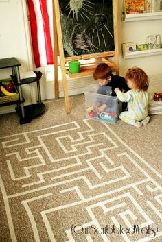 Tape Maze - This would be great for small, quiet movement on cold or rainy days! (Our Scribbled Walls)Masking Tape Maze - This would be great for small, quiet movement on cold or rainy days! (Our Scribbled Walls) Rainy Day Activities, Indoor Activities, Toddler Activities, Rainy Day Fun, Rainy Days, Masking Tape, Washi Tape, Toddler Fun, Infant Toddler
