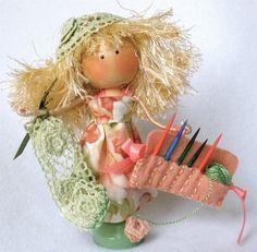 Clothespin Doll Crocheter Peg Doll by HeartStringsHandmade
