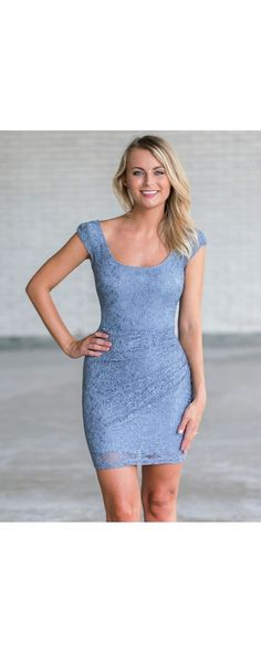 Lily Boutique Morning Mist Lace Bodycon Dress in Slate Blue, $42 Pale Blue Lace Sheath Dress, Cute Blue Cocktail Dress www.lilyboutique.com