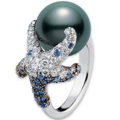 Mikimoto starfish & black pearl ring   Sea star  ⭐️