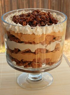 I'm not even a huge pumpkin fan, but I tried this delicious maple pumpkin trifle at a friend's Pampered Chef party and have wanted to make it ever since. I just stumbled across the recipe so I had to pin! You could also make individual parfaits! Update: I made this tonight and it was delish! Don't worry about using pure maple syrup. I used the cheap stuff and it was fine.