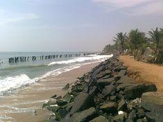 Beach / Ocean / Village view near Auroville, Puducherry, Pondicherry, Tamil Nadu, IN.